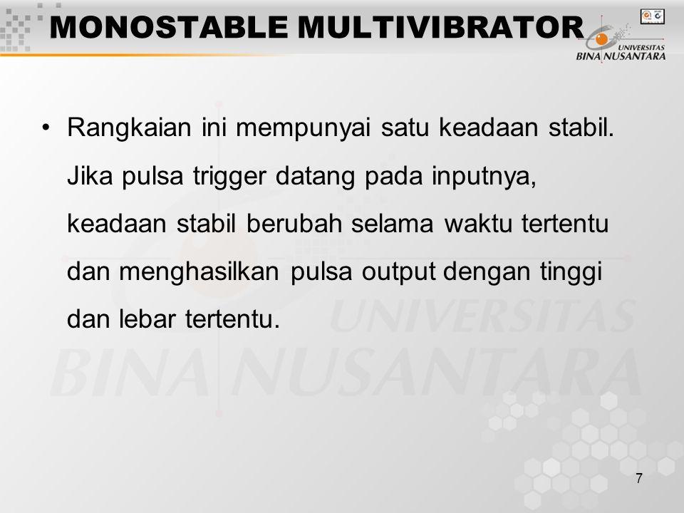 7 MONOSTABLE MULTIVIBRATOR Rangkaian ini mempunyai satu keadaan stabil. Jika pulsa trigger datang pada inputnya, keadaan stabil berubah selama waktu t
