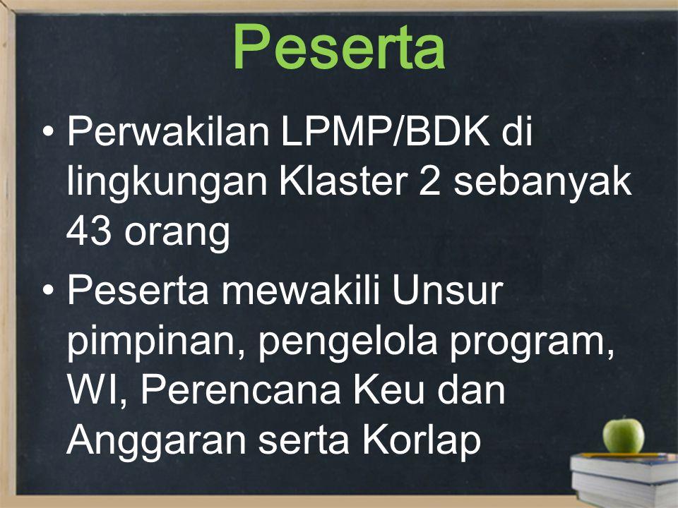 Input 1.Kebijakan Badan PSDMP dan PMP 2.Kebijakan PPMP terkait Program EDS/M - MSPD 3.Evaluasi Program LPMP terkait Pelaksanaan EDS/M – MSPD di LPMP/BDK 4.