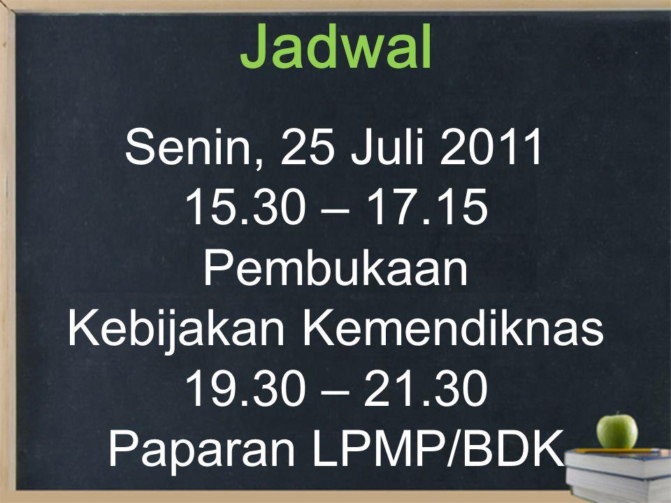 Jadwal Selasa, 26 Juli 2011 08.00 – 21.00 PAPARAN PENYUSUNAN PROGRAM INPUT KEBIJAKAN PPMP PENYUSUNAN RENCANA KERJA