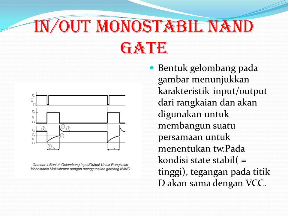 Gambar multivibrator monostable DGN IC 74HC00 Cara kerja rangkaian tersebut adalah: 1. Ketika tegangan diberikan, anggaplah bahwa dalam keadaan tinggi