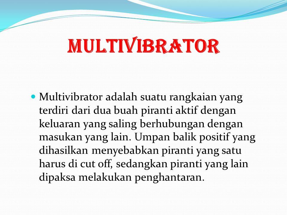 MULTIVIBRATOR Multivibrator adalah suatu rangkaian yang terdiri dari dua buah piranti aktif dengan keluaran yang saling berhubungan dengan masukan yang lain.