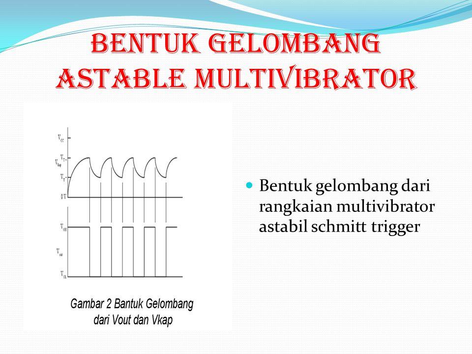 Bentuk gelombang ASTABLE MULTIVIBRATOR Bentuk gelombang dari rangkaian multivibrator astabil schmitt trigger