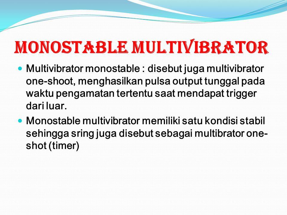 MONOSTABLE MULTIVIBRATOR Multivibrator monostable : disebut juga multivibrator one-shoot, menghasilkan pulsa output tunggal pada waktu pengamatan tertentu saat mendapat trigger dari luar.