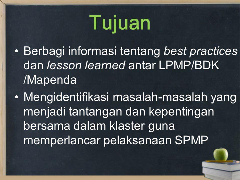 Tujuan Berbagi informasi tentang best practices dan lesson learned antar LPMP/BDK /Mapenda Mengidentifikasi masalah-masalah yang menjadi tantangan dan