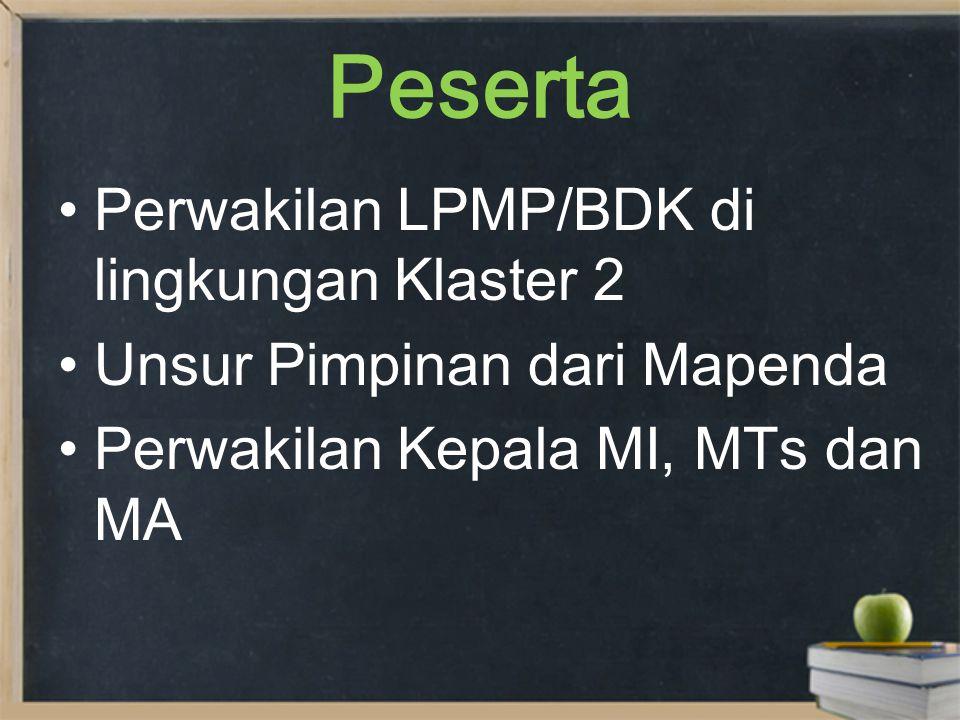 Peserta Perwakilan LPMP/BDK di lingkungan Klaster 2 Unsur Pimpinan dari Mapenda Perwakilan Kepala MI, MTs dan MA