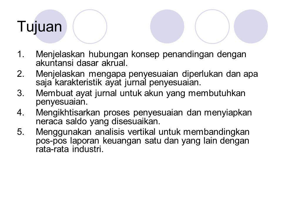Tujuan 1.Menjelaskan hubungan konsep penandingan dengan akuntansi dasar akrual. 2.Menjelaskan mengapa penyesuaian diperlukan dan apa saja karakteristi