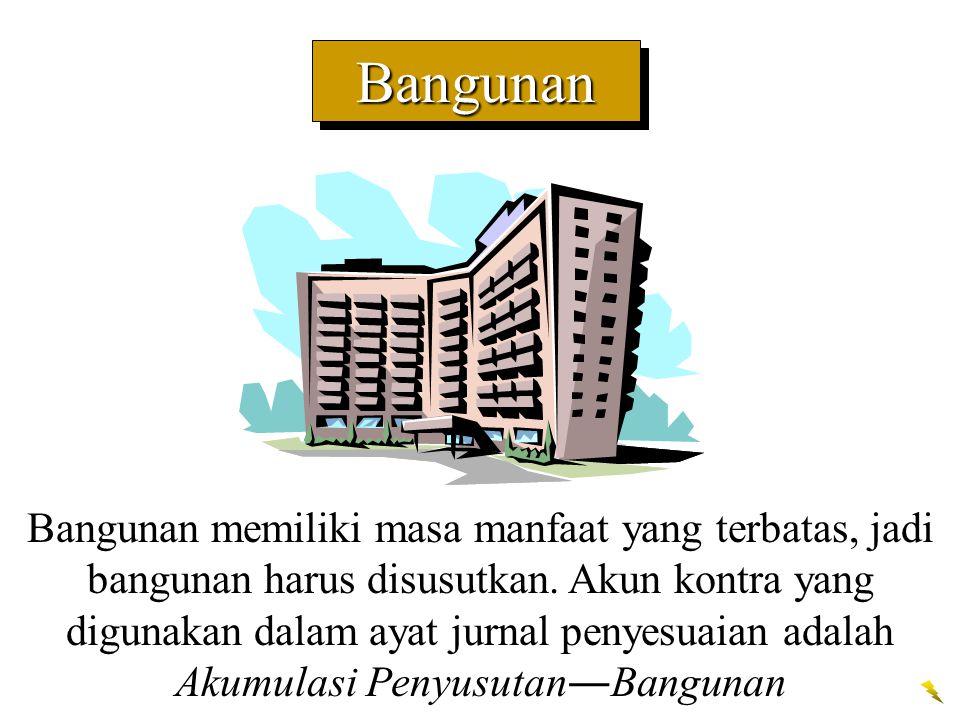 BangunanBangunan Bangunan memiliki masa manfaat yang terbatas, jadi bangunan harus disusutkan. Akun kontra yang digunakan dalam ayat jurnal penyesuaia
