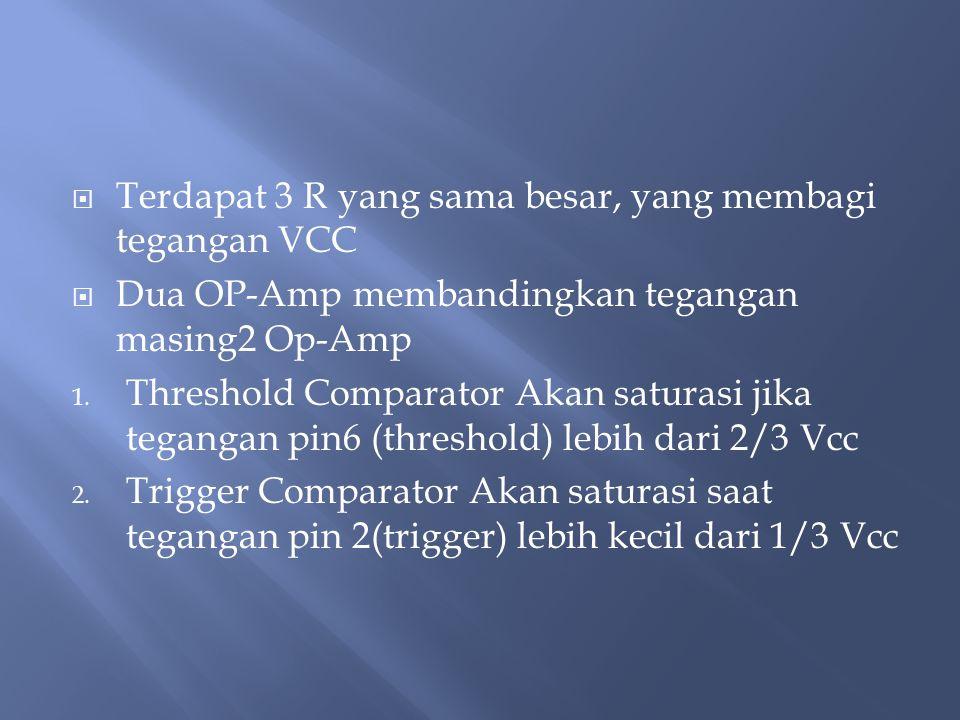  Terdapat 3 R yang sama besar, yang membagi tegangan VCC  Dua OP-Amp membandingkan tegangan masing2 Op-Amp 1.