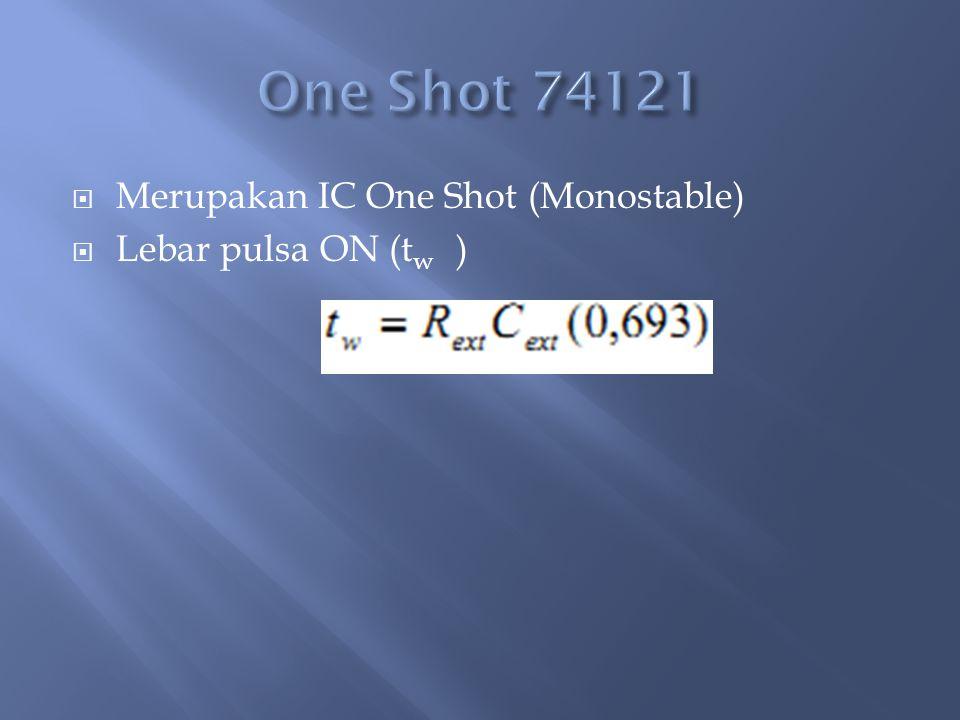  Merupakan IC One Shot (Monostable)  Lebar pulsa ON (t w )