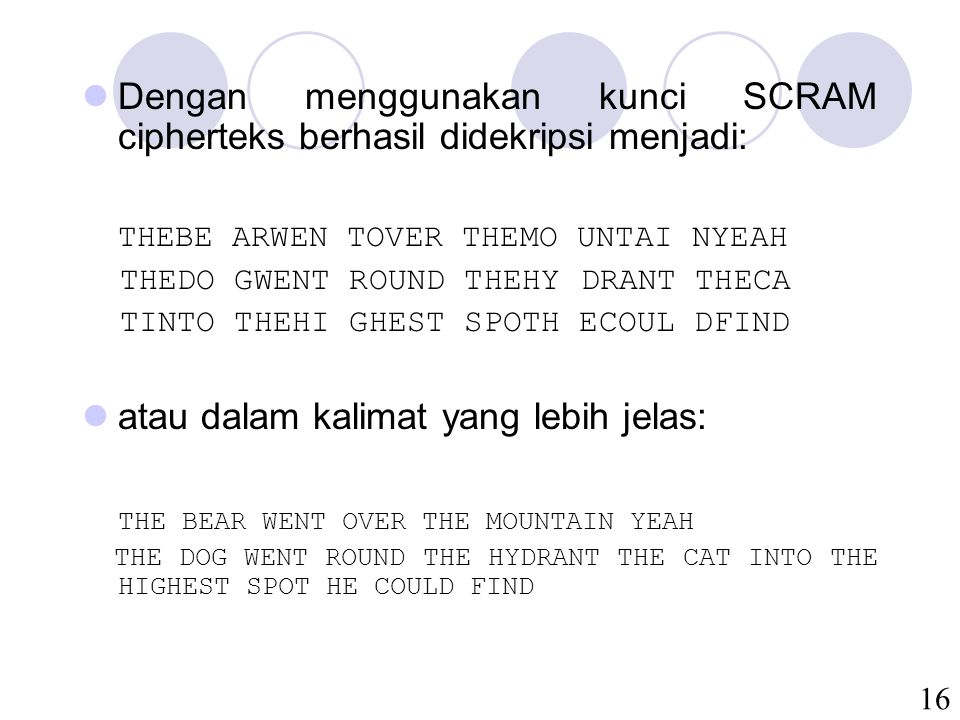 16 Dengan menggunakan kunci SCRAM cipherteks berhasil didekripsi menjadi: THEBE ARWEN TOVER THEMO UNTAI NYEAH THEDO GWENT ROUND THEHY DRANT THECA TINTO THEHI GHEST SPOTH ECOUL DFIND atau dalam kalimat yang lebih jelas: THE BEAR WENT OVER THE MOUNTAIN YEAH THE DOG WENT ROUND THE HYDRANT THE CAT INTO THE HIGHEST SPOT HE COULD FIND