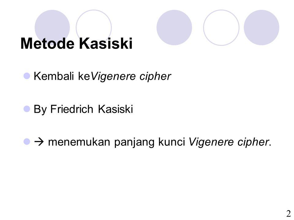 2 Metode Kasiski Kembali keVigenere cipher By Friedrich Kasiski  menemukan panjang kunci Vigenere cipher.