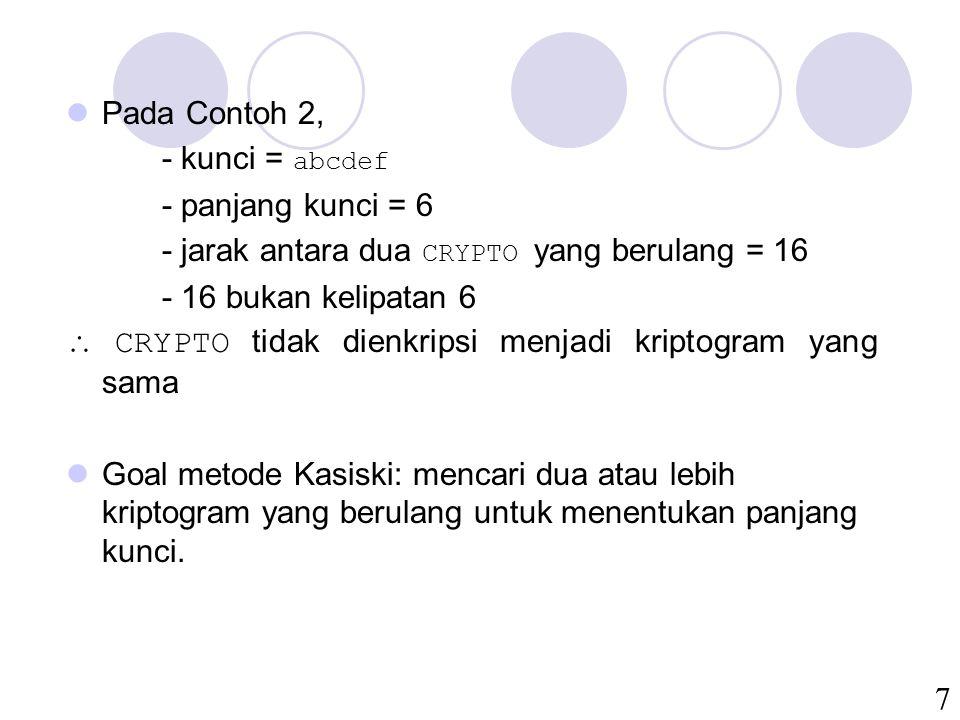 7 Pada Contoh 2, - kunci = abcdef - panjang kunci = 6 - jarak antara dua CRYPTO yang berulang = 16 - 16 bukan kelipatan 6  CRYPTO tidak dienkripsi me