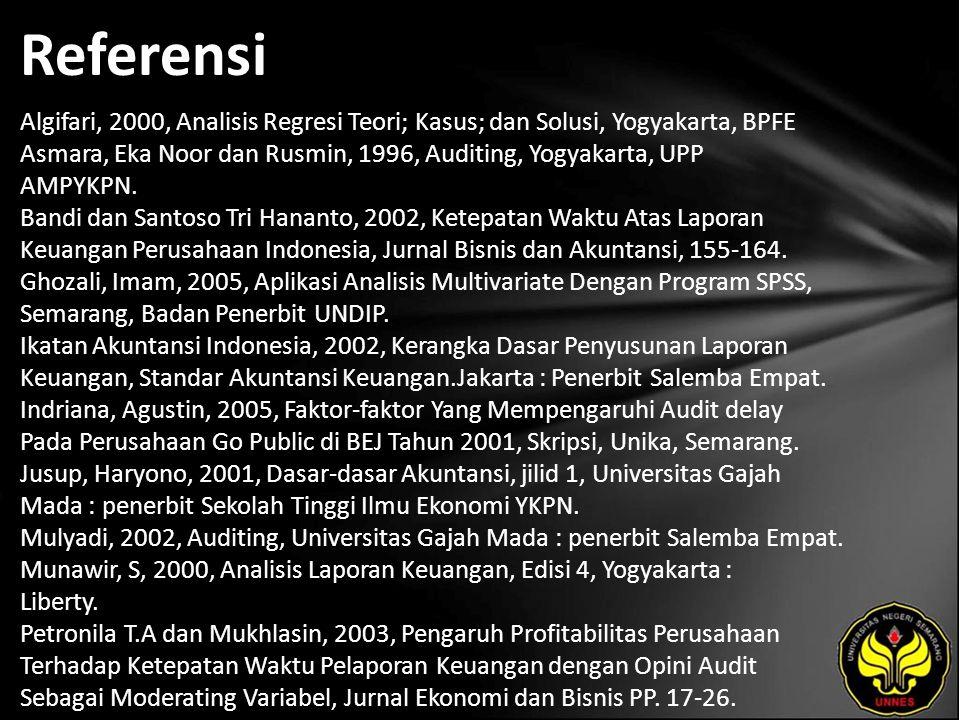 Referensi Algifari, 2000, Analisis Regresi Teori; Kasus; dan Solusi, Yogyakarta, BPFE Asmara, Eka Noor dan Rusmin, 1996, Auditing, Yogyakarta, UPP AMPYKPN.