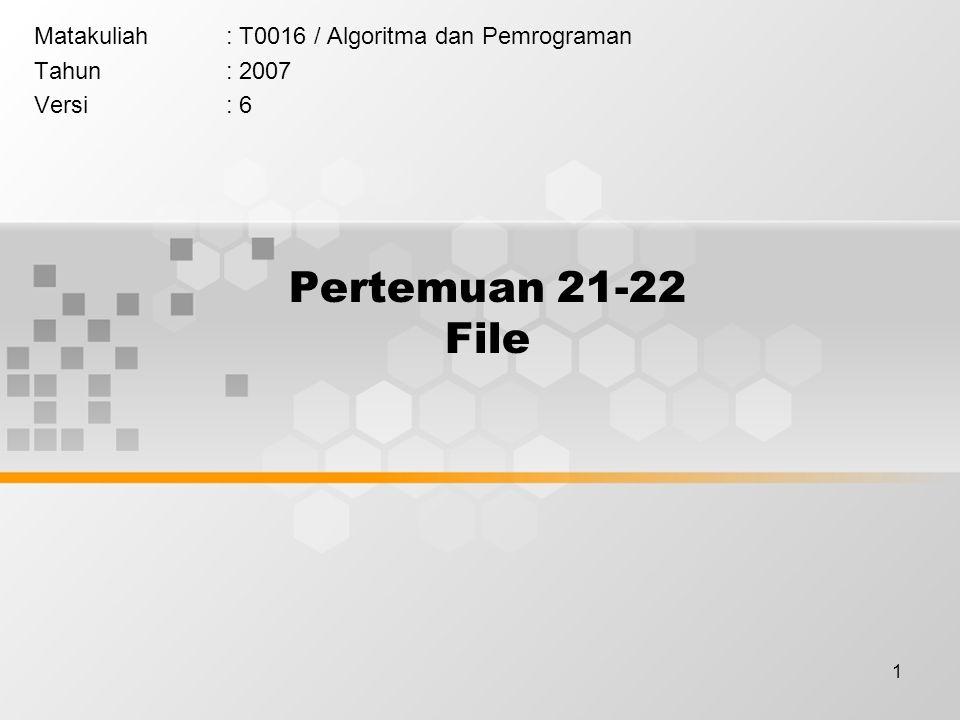 22 File : Contoh Contoh menulis string ke file test.txt dengan fputc #include int main(void) { FILE *fp; int i; char ss[80]= Kalimat ini disimpan ke file test.txt dengan fputc ; fp=fopen( test.txt , w ); if(fp==NULL){ printf( File test.txt tidak bisa create\n ); exit(1); } for(i=0; i<strlen(ss); i++) fputc(ss[i], fp); fclose(fp); return 0; }