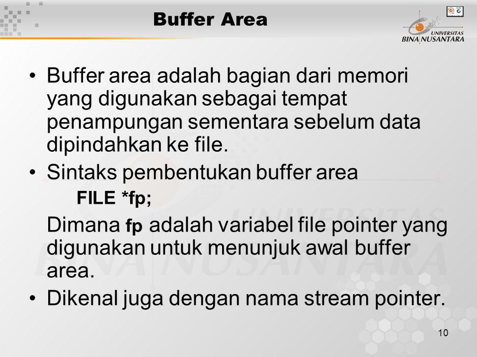 10 Buffer Area Buffer area adalah bagian dari memori yang digunakan sebagai tempat penampungan sementara sebelum data dipindahkan ke file.