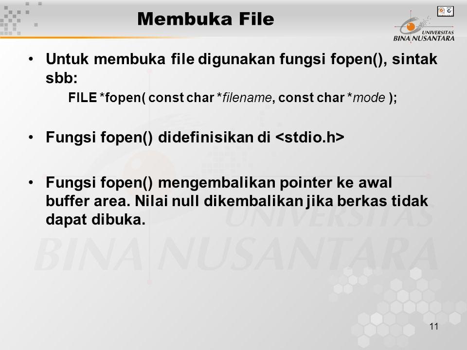 11 Membuka File Untuk membuka file digunakan fungsi fopen(), sintak sbb: FILE *fopen( const char *filename, const char *mode ); Fungsi fopen() didefinisikan di Fungsi fopen() mengembalikan pointer ke awal buffer area.