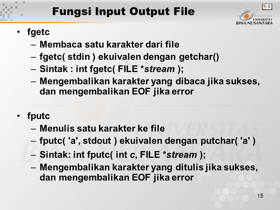 15 Fungsi Input Output File fgetc –Membaca satu karakter dari file –fgetc( stdin ) ekuivalen dengan getchar() –Sintak : int fgetc( FILE *stream ); –Mengembalikan karakter yang dibaca jika sukses, dan mengembalikan EOF jika error fputc –Menulis satu karakter ke file –fputc( a , stdout ) ekuivalen dengan putchar( a ) –Sintak: int fputc( int c, FILE *stream ); –Mengembalikan karakter yang ditulis jika sukses, dan mengembalikan EOF jika error