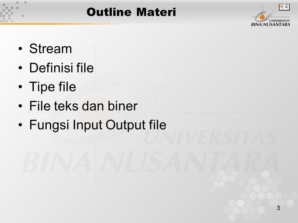 24 File : Contoh Contoh menulis string ke file test.txt dengan fputs #include int main(void) { FILE *fp; char ss[80]= Kalimat ini ditulis ke file test.txt dengan fputs ; fp=fopen( test.txt , w ); if(fp==NULL){ printf( File test.txt tidak bisa di create\n ); exit(1); } fputs(ss, fp); fclose(fp); return 0; }