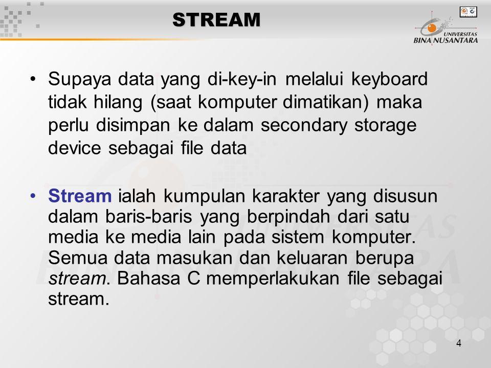 4 STREAM Supaya data yang di-key-in melalui keyboard tidak hilang (saat komputer dimatikan) maka perlu disimpan ke dalam secondary storage device sebagai file data Stream ialah kumpulan karakter yang disusun dalam baris-baris yang berpindah dari satu media ke media lain pada sistem komputer.
