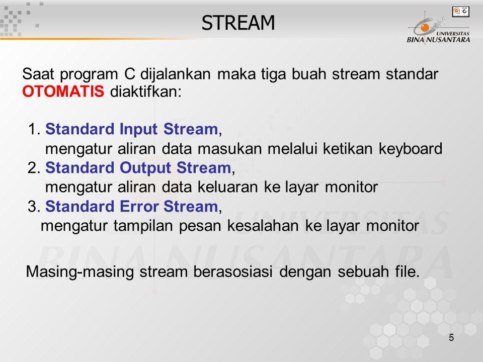 5 STREAM 1.Standard Input Stream, mengatur aliran data masukan melalui ketikan keyboard 2.