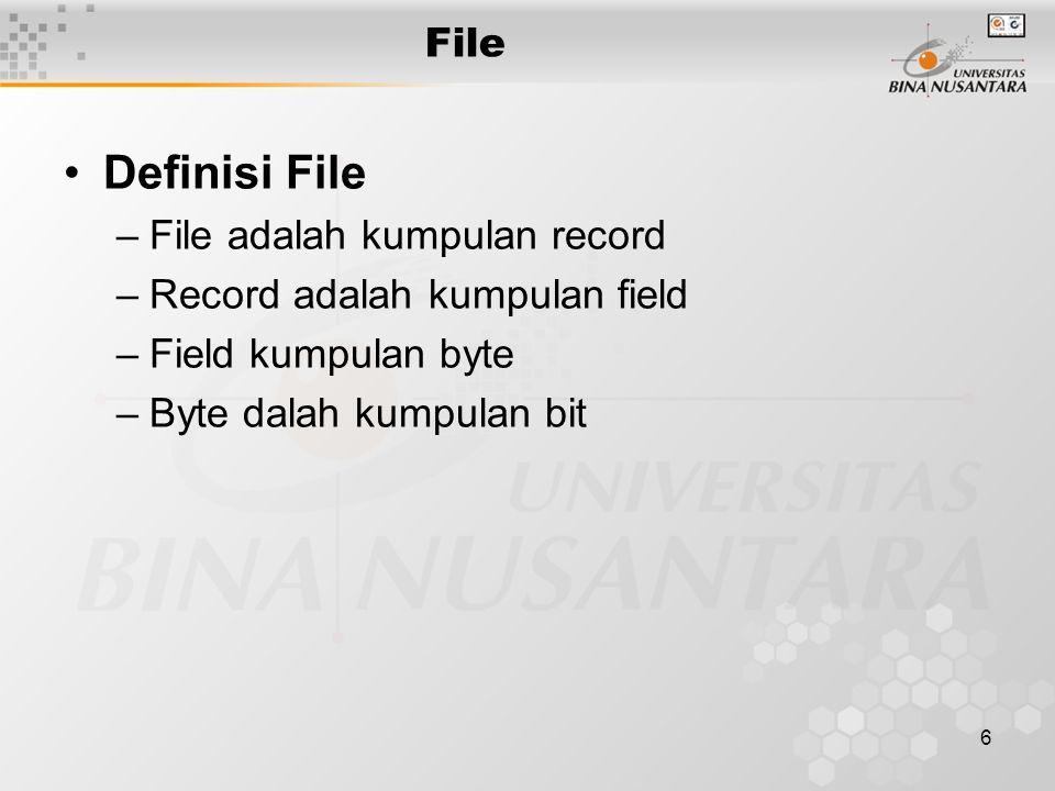 6 File Definisi File –File adalah kumpulan record –Record adalah kumpulan field –Field kumpulan byte –Byte dalah kumpulan bit