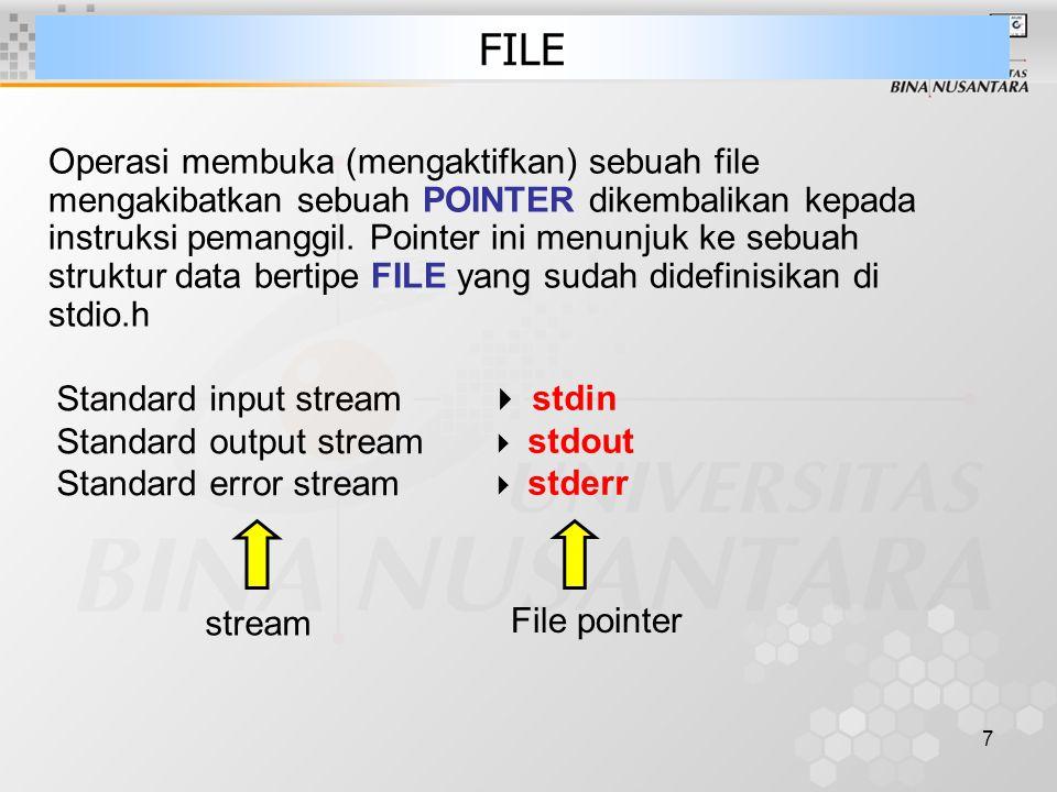 18 Fungsi Input Output File fwrite –Sintak: size_t fwrite( const void *buffer, size_t size, size_t count, FILE *stream ); –Menulis satu block data yg ada di buffer ke file –Mengembalikan jumlah byte data yang ditulis jika sukses, dan error jika return value nya lebih kecil dari size data yang ditulis fread –Sintak: size_t fread( void *buffer, size_t size, size_t count, FILE *stream ); –Membaca satu block data sebesar size dari file feof –Sintak : int feof( FILE *stream ); –Untuk ngetest apakah posisi pointer sudah di end-of-file –Mengembalikan 0 jika belum end-of-file