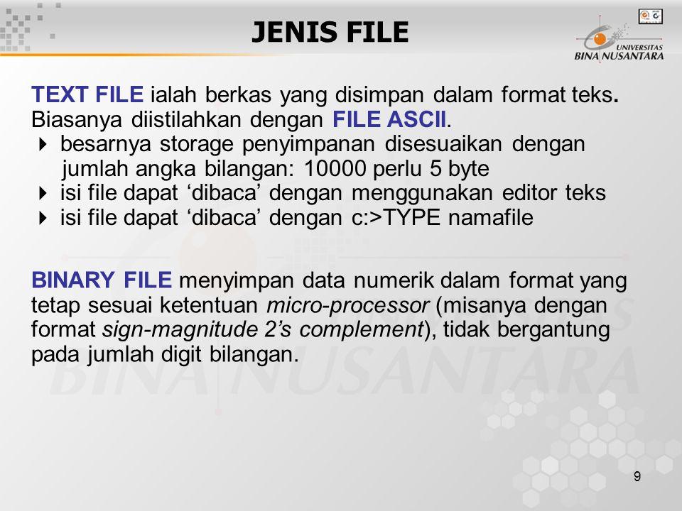 9 JENIS FILE TEXT FILE ialah berkas yang disimpan dalam format teks.