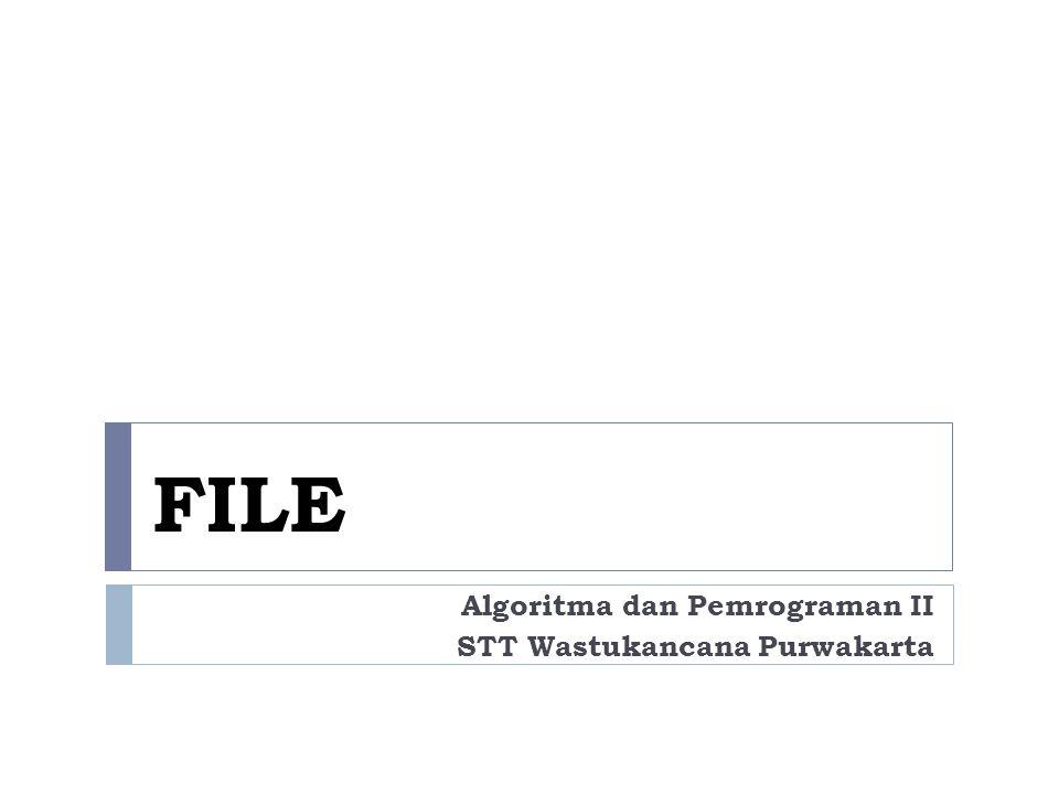  Bahasa C mendukung penyimpanan dan pembacaan data dari sebuah file  File : sembarang sumber untuk penyimpanan/pembacaan data  Pengaksesan file pada C menggunakan konsep stream.