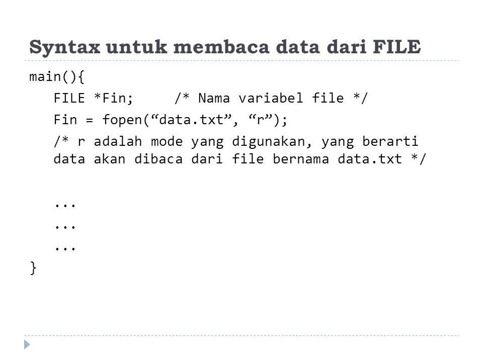 Syntax untuk menulis data ke FILE main(){ FILE *Fout;/* Nama variabel file */ Fout = fopen( data.txt , w ); /* w adalah mode yang digunakan, yang berarti data akan ditulis ke file bernama data.txt */...