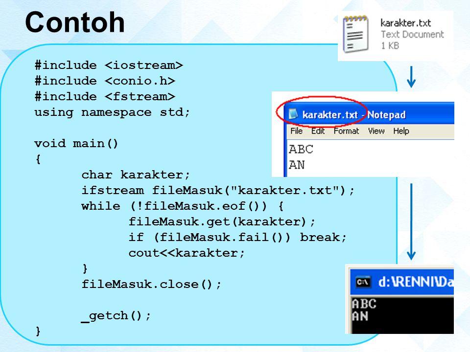Contoh #include using namespace std; void main() { char karakter; ifstream fileMasuk( karakter.txt ); while (!fileMasuk.eof()) { fileMasuk.get(karakter); if (fileMasuk.fail()) break; cout<<karakter; } fileMasuk.close(); _getch(); }