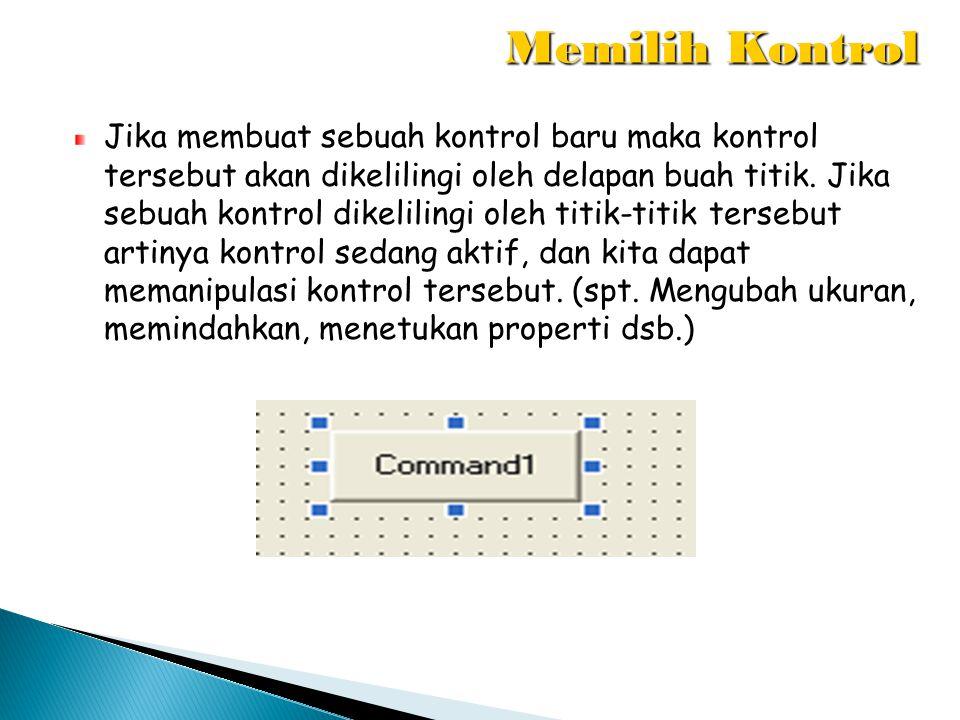 Jika membuat sebuah kontrol baru maka kontrol tersebut akan dikelilingi oleh delapan buah titik. Jika sebuah kontrol dikelilingi oleh titik-titik ters