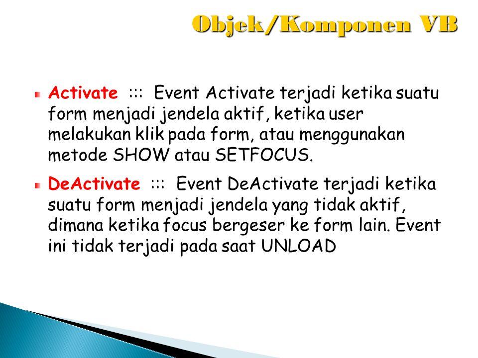 Activate ::: Event Activate terjadi ketika suatu form menjadi jendela aktif, ketika user melakukan klik pada form, atau menggunakan metode SHOW atau S