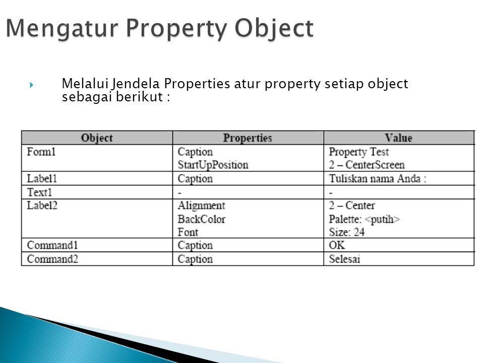  Melalui Jendela Properties atur property setiap object sebagai berikut :