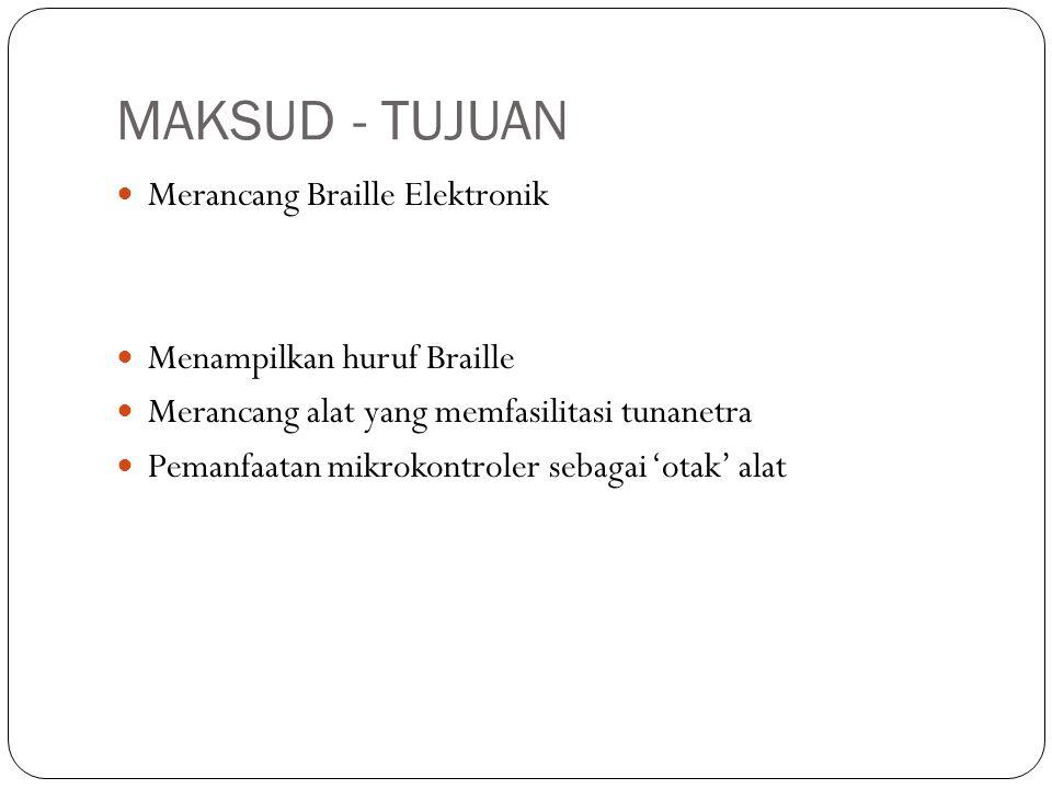 BATASAN MASALAH Braille positif jenis 6 dot Tampilan sel Braille 20 karakter pada LED Menggunakan Braille Indonesia Tingkat Satu Dokumen berformat '.txt' di memori eksternal Judul berupa angka