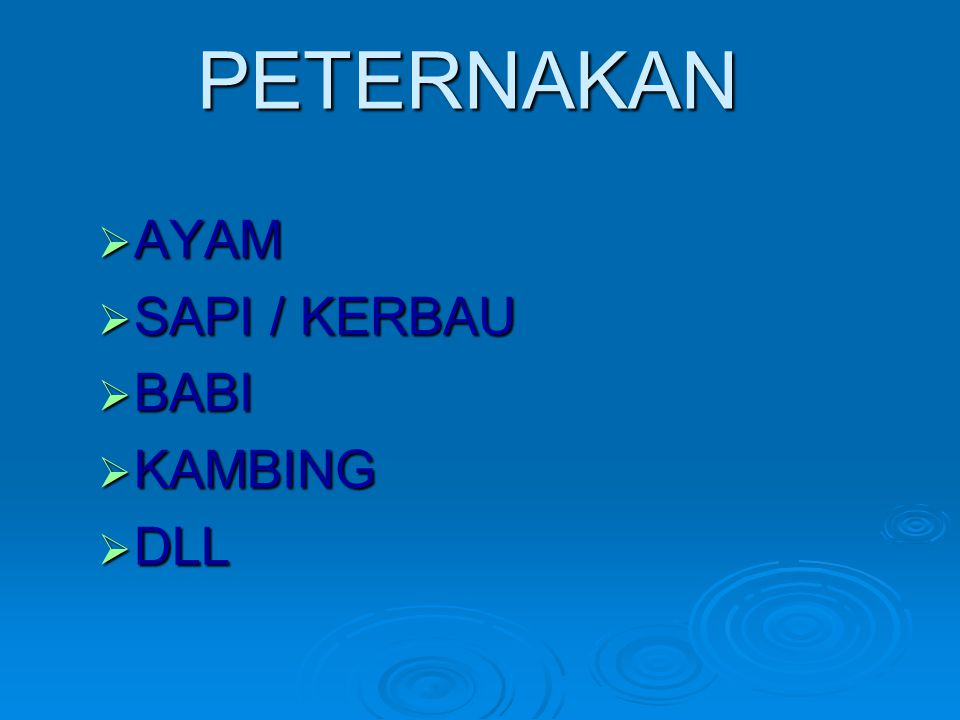 PETERNAKAN  AYAM  SAPI / KERBAU  BABI  KAMBING  DLL
