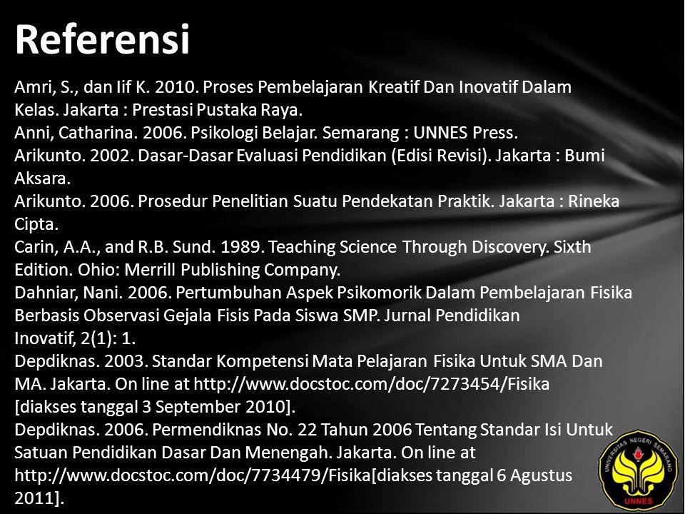 Referensi Amri, S., dan Iif K. 2010. Proses Pembelajaran Kreatif Dan Inovatif Dalam Kelas. Jakarta : Prestasi Pustaka Raya. Anni, Catharina. 2006. Psi