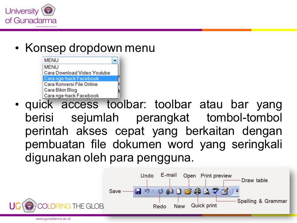 Konsep dropdown menu quick access toolbar: toolbar atau bar yang berisi sejumlah perangkat tombol-tombol perintah akses cepat yang berkaitan dengan pe