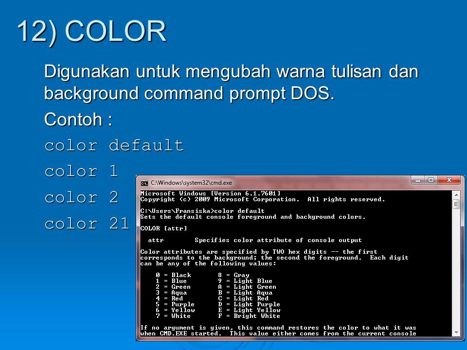 Digunakan untuk mengubah warna tulisan dan background command prompt DOS. Contoh : color default color 1 color 2 color 21 12) COLOR