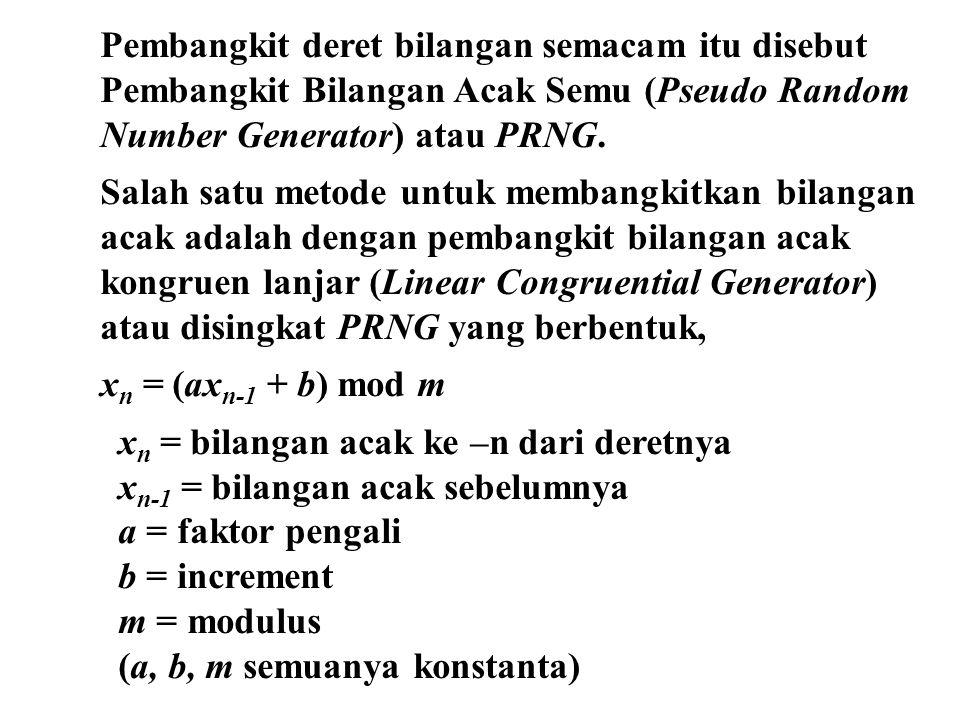 Pembangkit deret bilangan semacam itu disebut Pembangkit Bilangan Acak Semu (Pseudo Random Number Generator) atau PRNG. Salah satu metode untuk memban