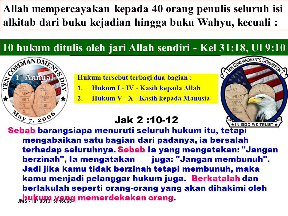 JMS - HP 081315746066 Makna Sabat Peringatan abadi tentang Penciptaan - Kel.
