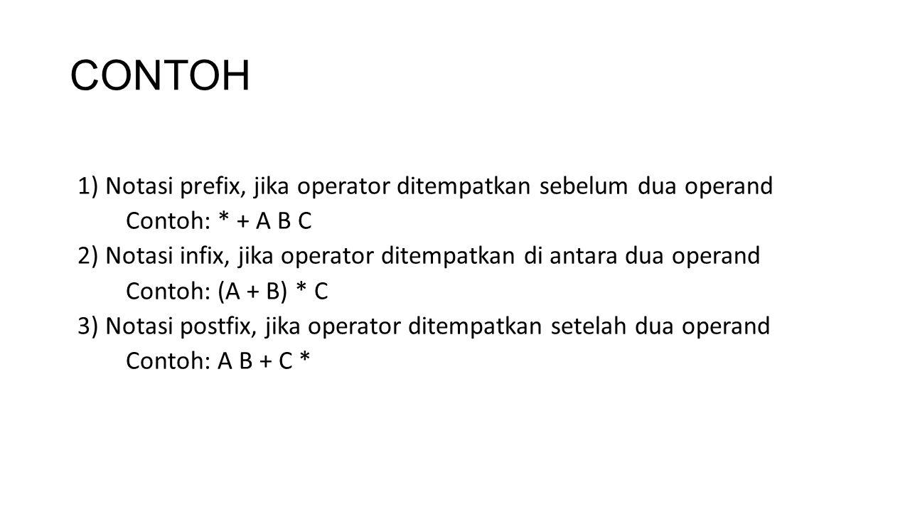 CONTOH 1) Notasi prefix, jika operator ditempatkan sebelum dua operand Contoh: * + A B C 2) Notasi infix, jika operator ditempatkan di antara dua oper