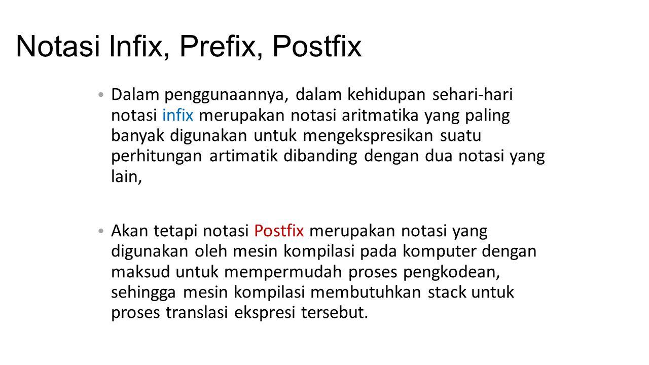 Notasi Infix, Prefix, Postfix Dalam penggunaannya, dalam kehidupan sehari-hari notasi infix merupakan notasi aritmatika yang paling banyak digunakan u