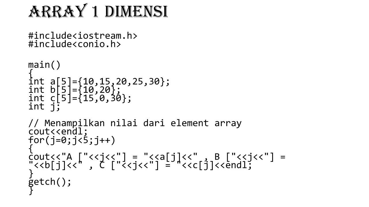 ARRAY 1 DIMENSI #include #include main() { int a[5]={10,15,20,25,30}; int b[5]={10,20}; int c[5]={15,0,30}; int j; // Menampilkan nilai dari element a