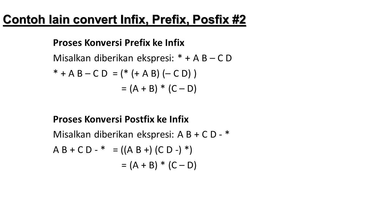 Contoh lain convert Infix, Prefix, Posfix #2 Proses Konversi Prefix ke Infix Misalkan diberikan ekspresi: * + A B – C D * + A B – C D = (* (+ A B) (–