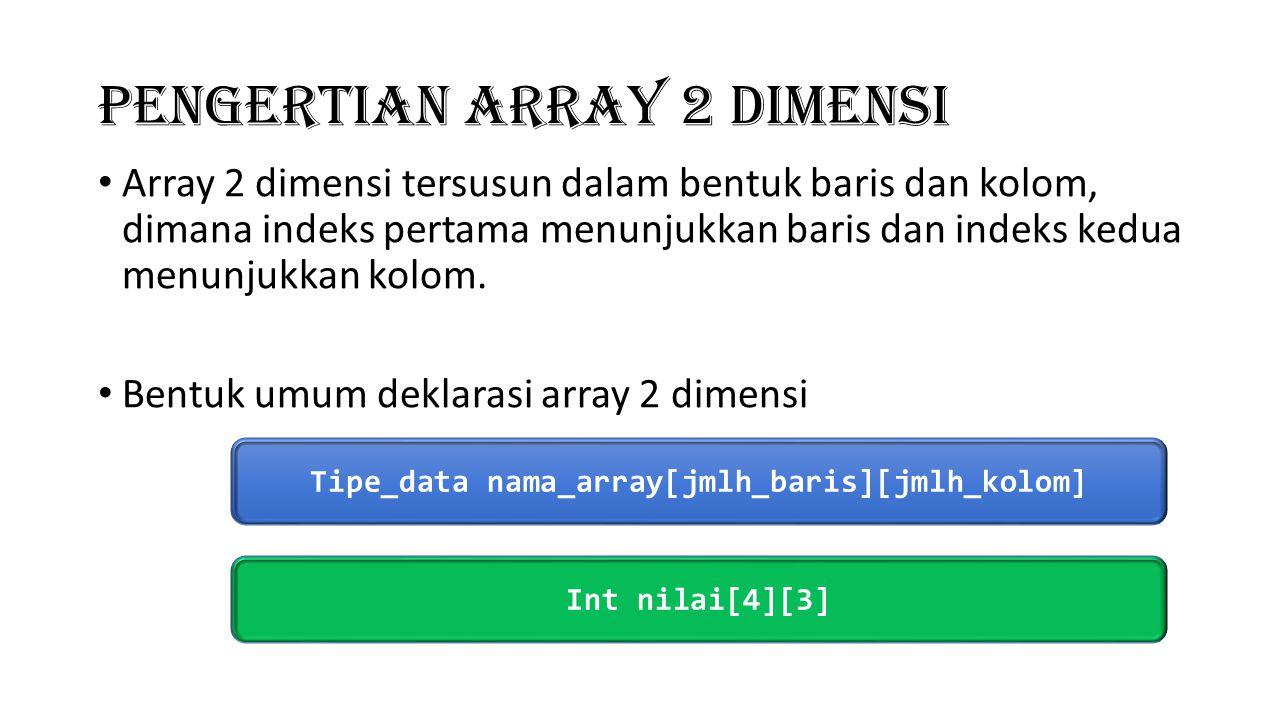 Array 2 dimensi #include main(){ int matrix[3][3]; int i,j; for(i=0;i<=2;i++){ for(j=0;j<=2;j++){ cout<< Masukkan angka pada baris ke <<i<< kolom ke <<j<< : ; cin>>matrix[i][j]; } cout<<endl; }