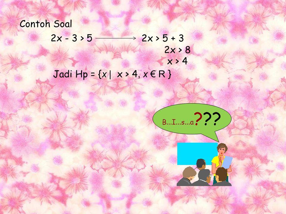 Pertidaksamaan linier (pangkat satu) Adalah pertidaksamaan yang salah satu atau kedua ruasnya mengandung bentuk linier dalam x. Penyelesaian: Letakkan