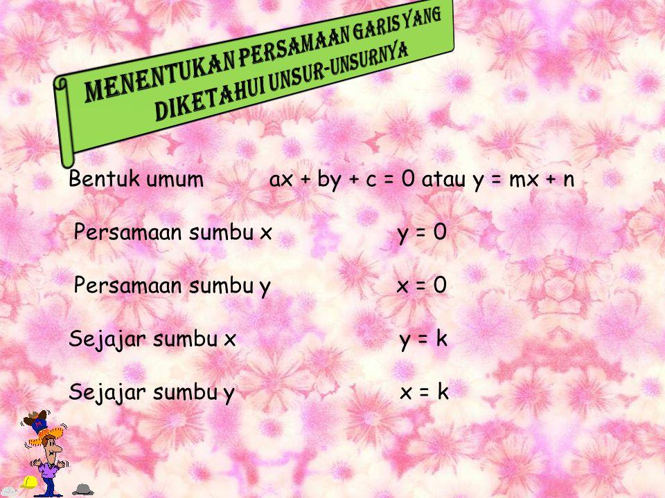 Bentuk umum ax + by + c = 0 atau y = mx + n Persamaan sumbu x y = 0 Persamaan sumbu y x = 0 Sejajar sumbu x y = k Sejajar sumbu y x = k