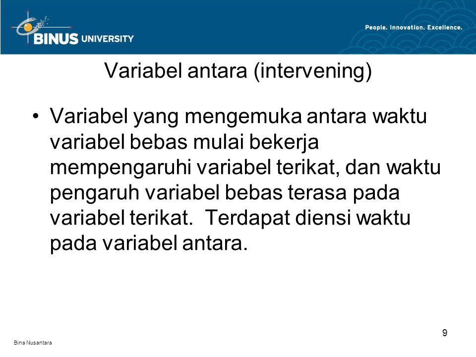 Bina Nusantara Variabel yang mengemuka antara waktu variabel bebas mulai bekerja mempengaruhi variabel terikat, dan waktu pengaruh variabel bebas tera
