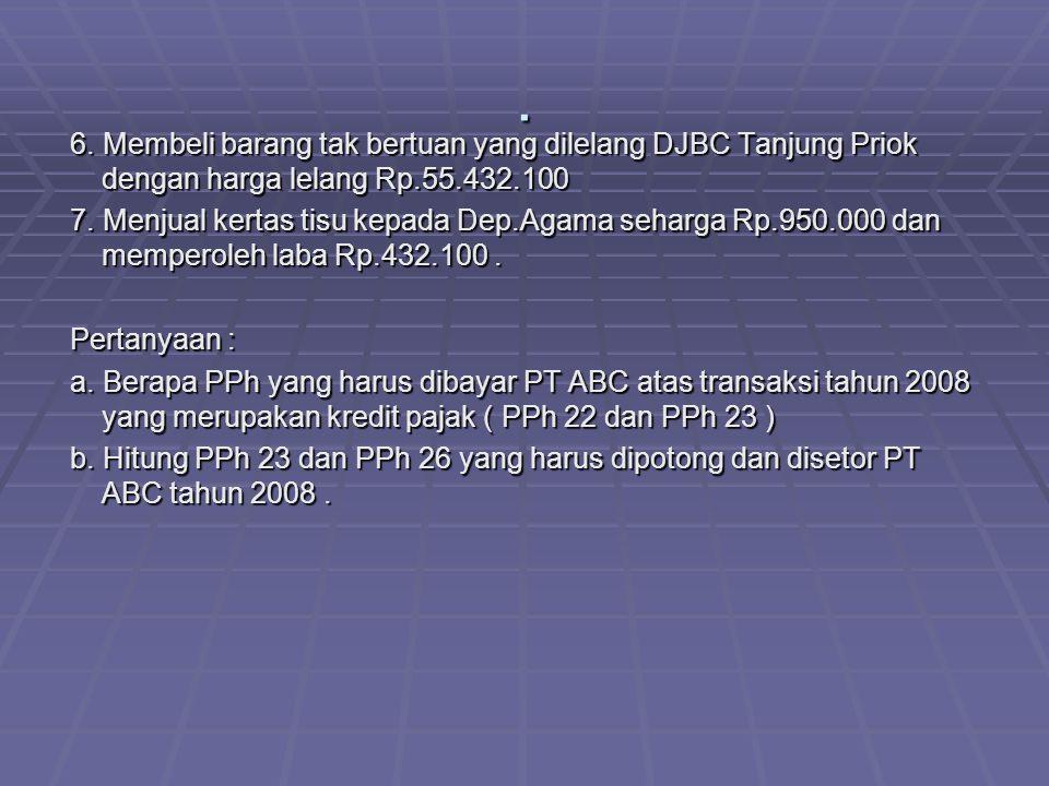 . 6. Membeli barang tak bertuan yang dilelang DJBC Tanjung Priok dengan harga lelang Rp.55.432.100 6. Membeli barang tak bertuan yang dilelang DJBC Ta
