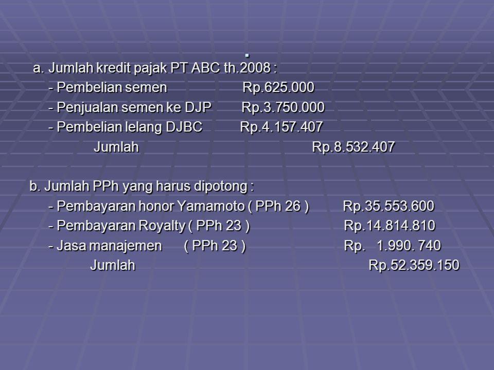 . a. Jumlah kredit pajak PT ABC th.2008 : a. Jumlah kredit pajak PT ABC th.2008 : - Pembelian semen Rp.625.000 - Pembelian semen Rp.625.000 - Penjuala